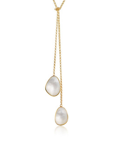 Piara Goldplated Sterling SIlver and Mother of Pearl Lariat Necklace-WHITE-One Size