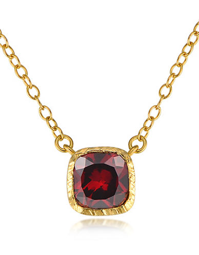 Piara Goldplated Sterilng Silver and Garnet Square Pendant Necklace-RED-One Size