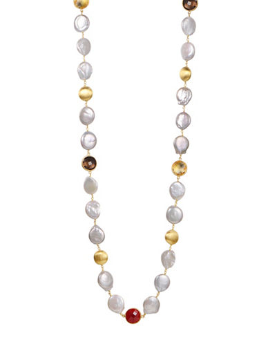 Piara 12-13mm White Freshwater Coin Pearls, Smoky Quartz and Citrine Necklace-MULTI-One Size
