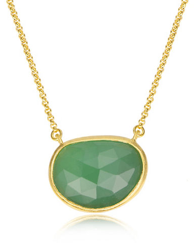 Piara Goldplated Sterling Silver and Chalcedony Oval Pendant Necklace-GREEN-One Size