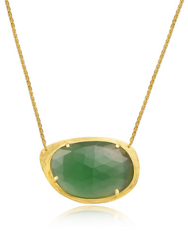 Piara Goldplated Sterling Silver and Chalcedony Irregular Pendant Necklace-GREEN-One Size