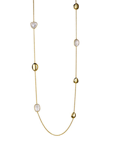 Piara Goldplated Sterling Silver and Mother of Pearl Station Necklace-WHITE-One Size