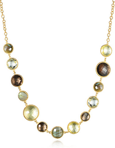 Piara Goldplated Sterling Silver Amethyst, Smoky Quartz, Labradorite and Lemon Quartz Station Necklace-MULTI-One Size