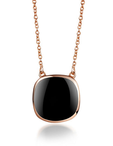 Piara Rose Goldplated Sterling Silver and Onyx Square Pendant Necklace-BLACK-One Size