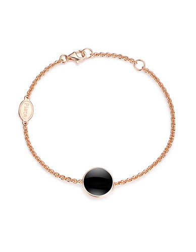 Piara Rose Goldplated Sterling Silver and Onyx Bracelet-BLACK-One Size
