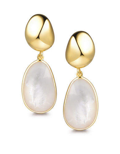 Piara Goldplated Sterling Silver and Mother-of-Pearl Drop Earrings-WHITE-One Size
