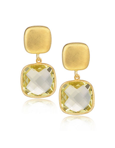 Piara Goldplated Sterling Silver and Quartz Square Drop Earrings-YELLOW-One Size
