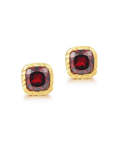 Piara Goldplated Sterling Silver and Garnet Square Stud Earrings-RED-One Size