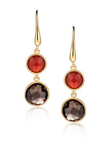 Piara Goldplated Sterling Silver Quartz and Agate Double Drop Earrings-MULTI-One Size