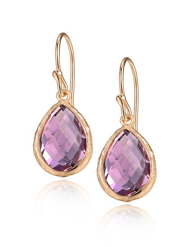 Piara Rose Goldplated Sterling Silver Brazil Amethyst Pear Drop Earrings-PUPLE-One Size