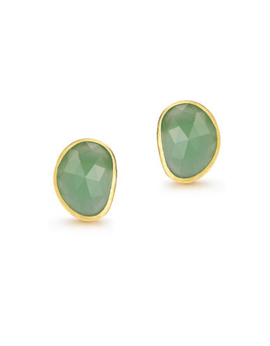 Piara Goldplated Sterling Silver and Chalcedony Oval Stud Earrings-GREEN-One Size