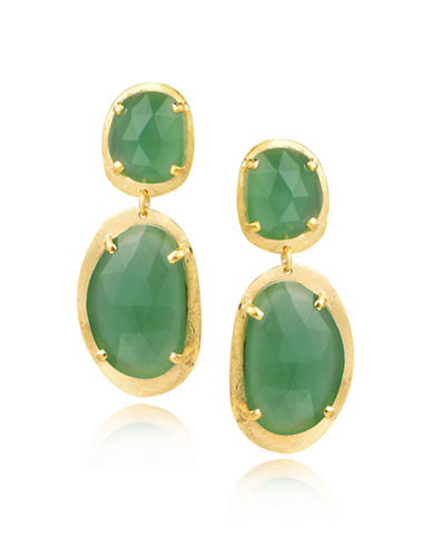 Piara Goldplated Sterling Silver and Green Chalcedony Oval Drop Earrings-GREEN-One Size