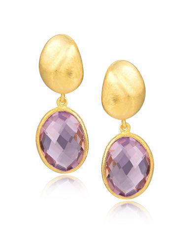 Piara Goldplated Sterling Silver and Amethyst Oval Drop Earrings-PURPLE-One Size