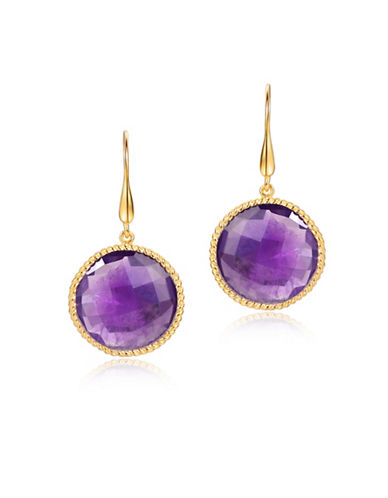 Piara African Amethyst Round Twisted Drop Earrings-PURPLE-One Size