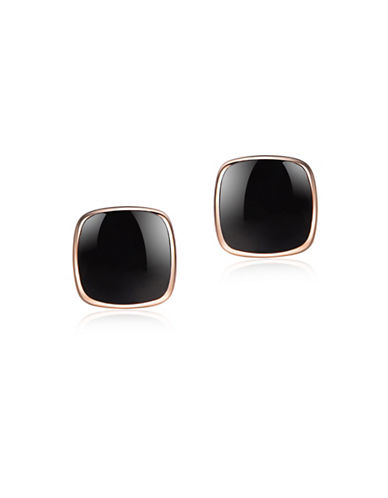 Piara Rose Goldplated Sterling Silver and Onyx Square Stud Earrings-BLACK-One Size