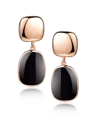 Piara Rose Goldplated Sterling Silver and Onyx Drop Earrings-BLACK-One Size