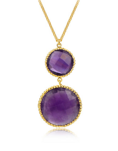 Piara African Amethyst Double Drop Pendant Necklace-PURPLE-One Size