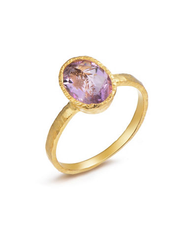 Piara Genuine Brazil Amethyst Sterling Silver and 18K Yellow Goldplated Oval Solitaire Ring-PURPLE-7