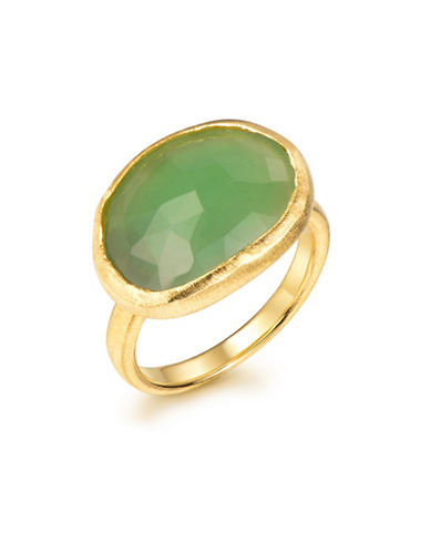 Piara Genuine Green Chalcedony Sterling Silver and 18K Yellow Goldplated Hammered Oval Ring-GREEN-7