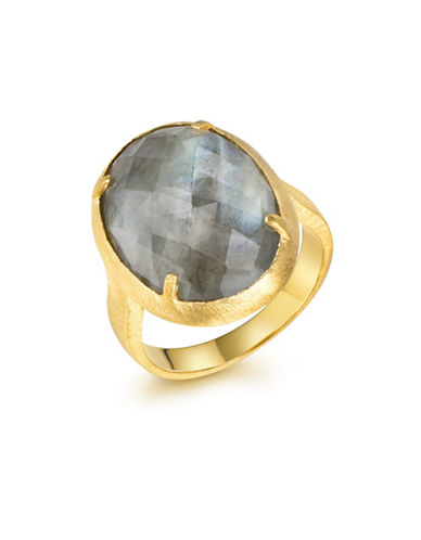 Piara Genuine Labradorite Sterling Silver and 18K Yellow Goldplated Oval Ring-GREEN-7