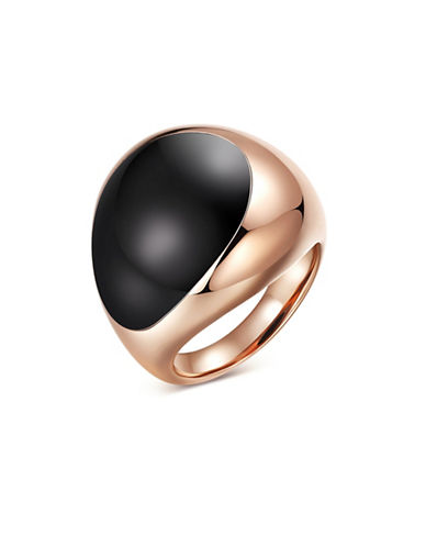 Piara Genuine Black Onyx Sterling Silver and 18K Rose Goldplated Dome Ring-BLACK-6