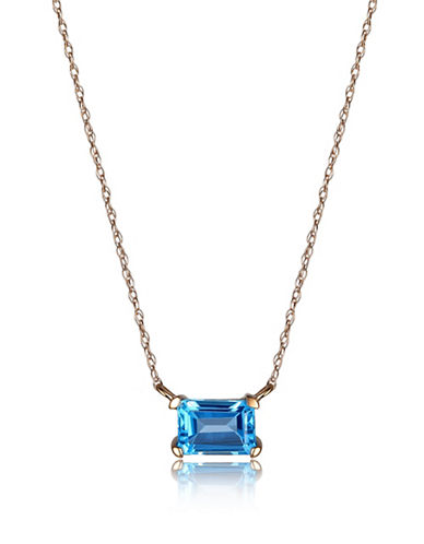 Piara Blue Topaz and 14K Gold Emerald Cut Pendant Necklace-BLUE-One Size