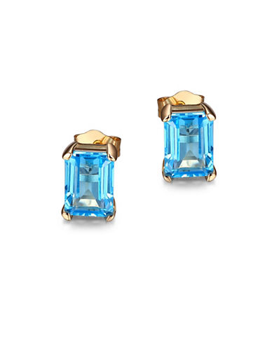 Piara Blue Topaz and 14K Gold Emerald Cut Stud Earrings-BLUE-One Size