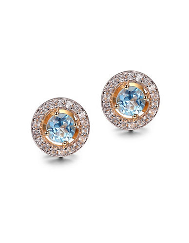Piara Blue and White Topaz and 14K Gold Round Halo Stud Earrings-BLUE-One Size