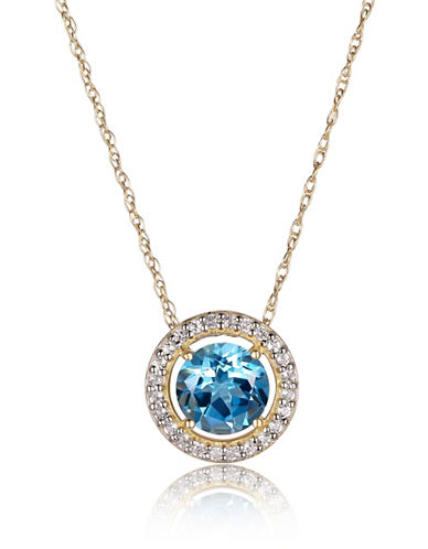 Piara Blue and White Topaz and 14K Gold Round Halo Pendant Necklace-BLUE-One Size