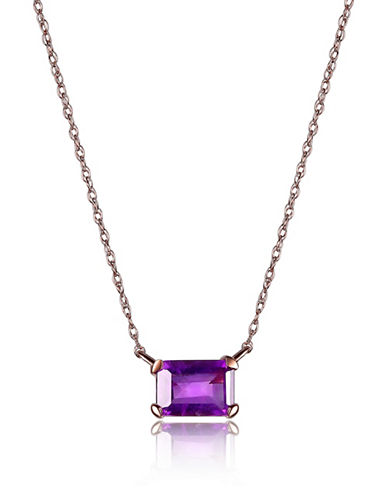 Piara Amethyst and 14K Rose Gold Emerald Cut Pendant Necklace-PURPLE-One Size