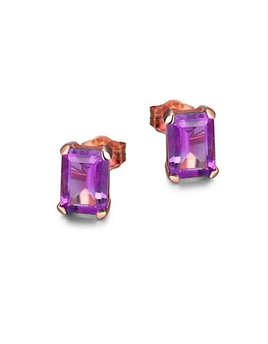 Piara Amethyst and 14K Rose Gold Emerald Cut Stud Earrings-PURPLE-One Size