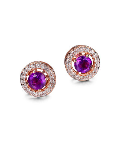 Piara Amethyst, White Topaz and 14K Rose Gold Round Halo Earrings-PURPLE-One Size
