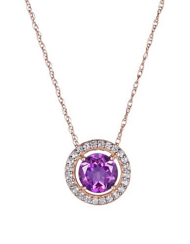 Piara Amethyst, White Topaz and 14K Rose Gold Round Halo Pendant Necklace-PURPLE-One Size