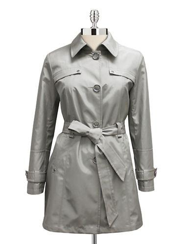 Novelti Iridescent Belted Trench Coat-PLATINUM-10 plus size,  plus size fashion plus size appare