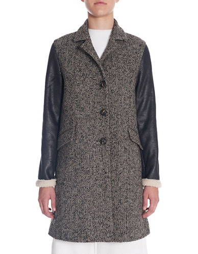 Sosken Brodie Herringbone Tweed Coat with Faux Shearling Sleeves-BROWN-Large