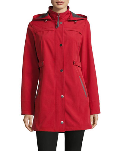 London Fog Soft Shell Water Resistant Jacket-RED-Medium