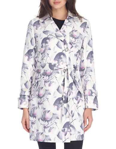 London Fog Floral-Print Belted Trench Coat-PINK/WHITE-Medium