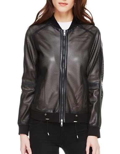 Sosken Cara Perforated Faux Leather Bomber Jacket-BLACK-1