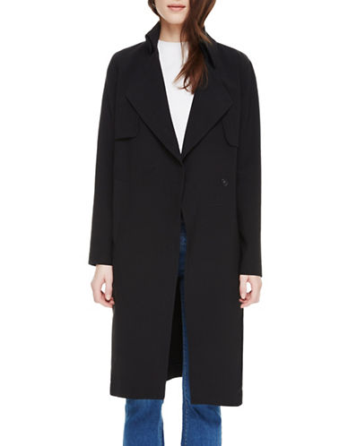 Sosken Charlotte Double-Breasted Trench Coat-BLACK-2