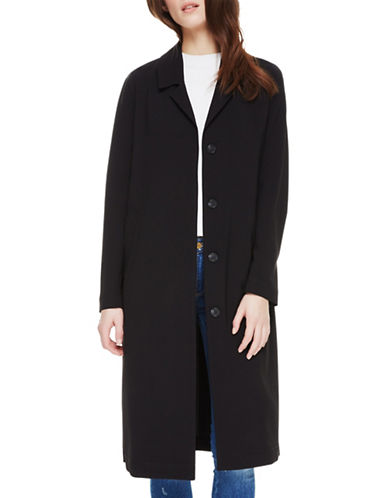 Sosken Charlene Button-Front Coat-BLACK-2