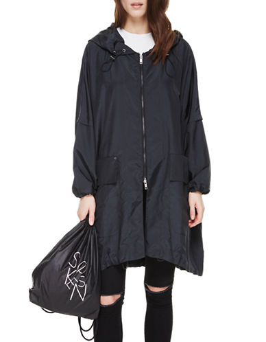 Sosken Cristal Packable Luxury Raincoat-BLACK-Large/X-Large