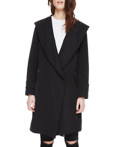 Sosken Coco Hooded Wrap Trench Coat-BLACK-3