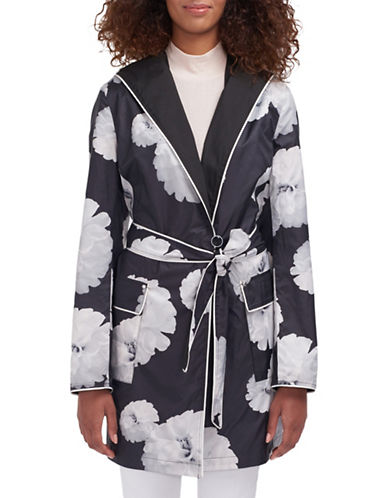 Novelti Belted Packable Floral-Printed Trench Coat-BLACK/WHITE-12