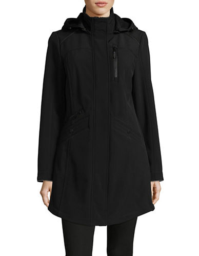London Fog Soft Shell Hooded Jacket-BLACK-X-Small