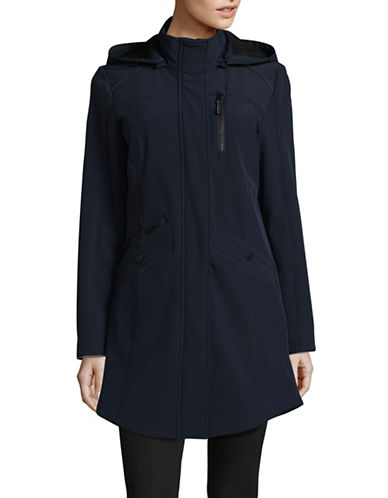 London Fog Soft Shell Hooded Jacket-NAVY-X-Small