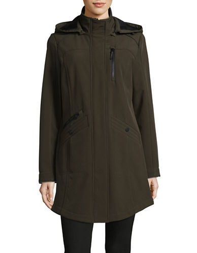 London Fog Soft Shell Hooded Jacket-OLIVE-Small