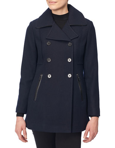 Novelti Double Breasted Coat-NAVY-4