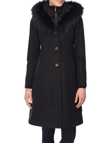 Novelti Flat Wool Twill Faux Fur-Trimmed Long Coat-BLACK-14