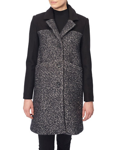 Novelti Boucle Coat-BLACK/WHITE-14