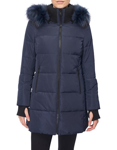 Novelti Faux Down Quilted Jacket-NAVY-Large